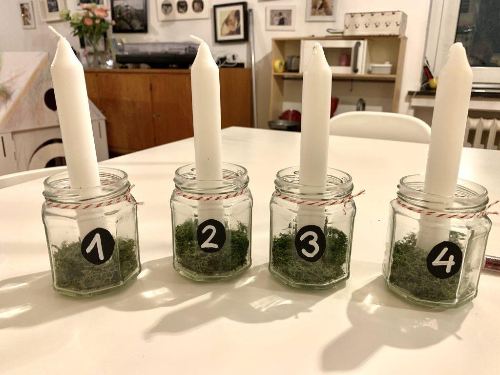 Adventsgesteck glas